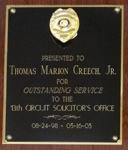 Thomas Creech Outstanding Service Plaque