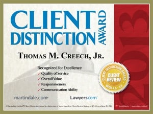 Martindale-Hubbell Client Review Rated Lawyer of Distinguished 4.4 out of 5 as of January 2014